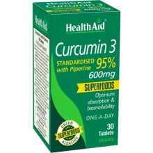 Health Aid Curcumin 3 600 mg With Piperine x 30 Tabs
