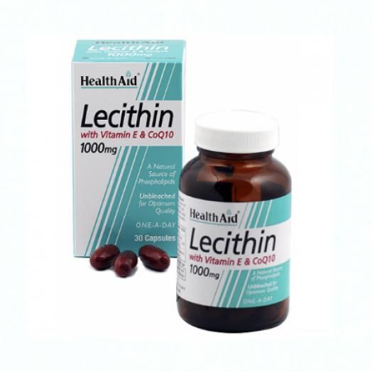 Health Aid Lecithin 1000mg + Vitamin E + Q10 X 30 Caps