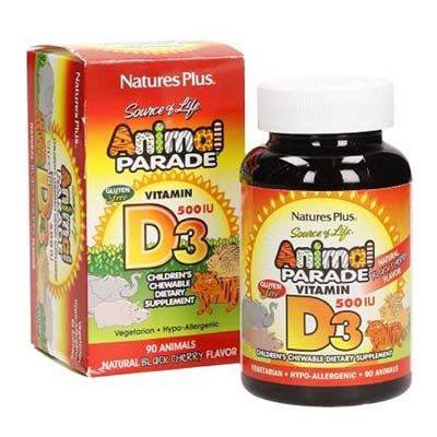 Nature's Plus Animal Parade Vitamin D3 500 iu x 90 Chewable Tabs