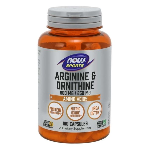 Now Foods Sports L-Arginine 500 mg + L-Ornithine 250 mg x 100 Caps