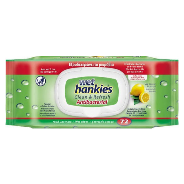Wet Hankies Clean & Refresh Antibacterial Lemon x 72 Τμχ