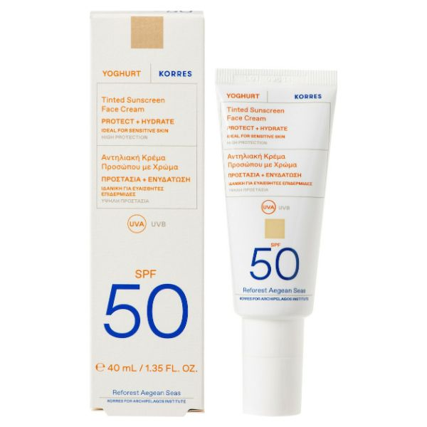 Korres Yoghurt Sunscreen Face Cream Με Χρώμα SPF50 40ml